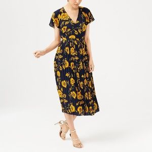 J.Crew Factory printed pleated dress.